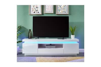 nouveau concept d65a6 9a197 Meuble tv - meuble hi-fi flash meuble tv avec led contemporain blanc laqué  brillant - l 165 cm