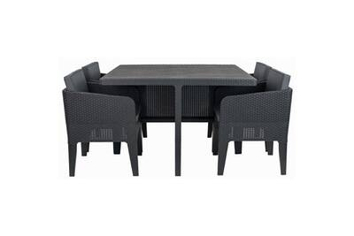 Salon de jardin - ensemble table chaise fauteuil de jardin ensemble de  jardin 4 places columbia imitation résine tressée - gris
