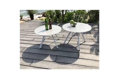 Table basse de jardin vendue seule lot de 2 tables rondes base en métal  avec plateau en gres - blanc