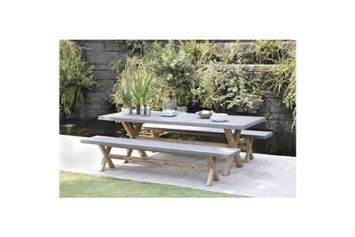 Salon de jardin - ensemble table chaise fauteuil de jardin ensemble repas  de jardin en fibre de ciment et acacia laure - 1 table rectangulaire 200 x  ...