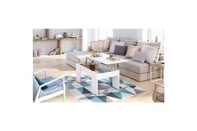 L Basse Blanc Mat Table 100 Relevable Style X 50 Contemporain Plateau Swing Cm ZiXPku