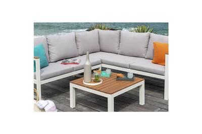 Salon de jardin - ensemble table chaise fauteuil de jardin palma salon de  jardin 5 places en métal et en bois d\'eucalyptus - canapé d\'angle modulable  ...