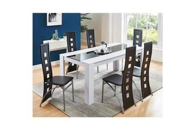 Table a manger avec chaises damia ensemble table a manger 6 a 8 personnes +  6 chaises contemporain blanc et verre trempé noir - l 180 x l 90 cm