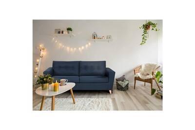 Convertible 188 Droit 97 Tissu Sofa Brando 3 Scandinave P Canape L Places Divan Bleu Cm Canapé X mnyN80Owv