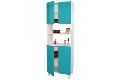 Colonne de salle de bain - armoire de salle de bain corail colonne de salle  de bain l 60 cm - bleu lagon brillant