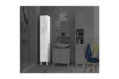 Colonne de salle de bain - armoire de salle de bain corail colonne de salle  de bain l 30 cm - blanc laqué