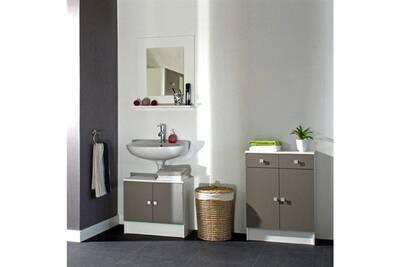 Meuble sous vasque - meuble vasque integree - plan de toilette galet meuble  sous lavabo l 60 cm - blanc et taupe mat