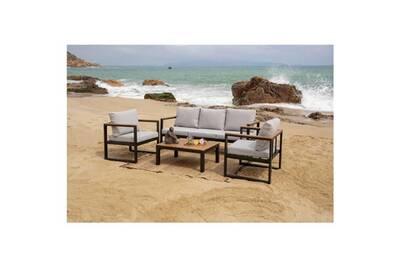 Salon de jardin - ensemble table chaise fauteuil de jardin hao salon jardin  en bois d\'eucalyptus 5 places - un canapé et deux fauteuils avec une table  ...