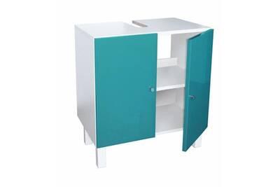 Meuble sous vasque - meuble vasque integree - plan de toilette corail  meuble sous lavabo l 60 cm - bleu lagon brillant