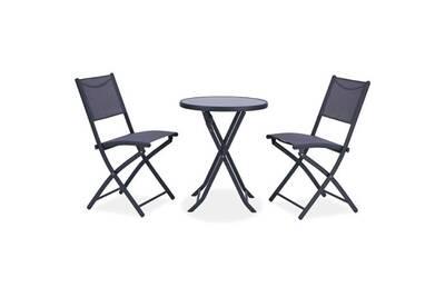 Salon de jardin - ensemble table chaise fauteuil de jardin - ensemble salon  de jardin 2 places - table ronde pliable plateau verre trempé chaises ...
