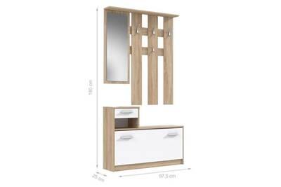 cm peili Vestiaire décor miroir 97 vestiaire et avec blanc scandinave d'entrée chene meuble l d entree J1cTl3FK