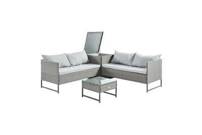 Salon de jardin - ensemble table chaise fauteuil de jardin tela salon de  jardin 4 places en résine tressée - deux canapés et une table basse avec  une ...