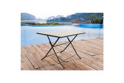 Salon de jardin - ensemble table chaise fauteuil de jardin - table pliante  de jardin 110 cm + 4 chaises taupe - hieno