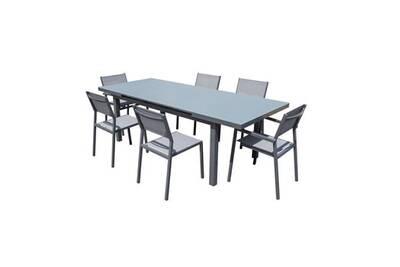 Salon de jardin - ensemble table chaise fauteuil de jardin horizon ensemble  repas de jardin - table extension automatique en alu + 2 fauteuils + 4 ...