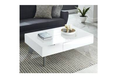 Table Basse Zanzibar Table Basse Transformable Style Contemporain Laque Blanc Brillant Avec Pieds Chromes L 110 X L 75 Cm