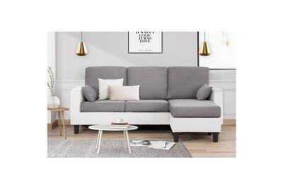 Canape Sofa Divan Berlin Canape D Angle Reversible 3 Places Simili Blanc Et Tissu Gris Clair Contemporain L 185 X P 128 Cm