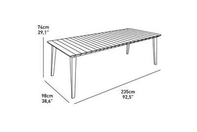 Table de jardin vendue seule table lima 240 6-10 personnes avec allonge -  design contemporain - blanc