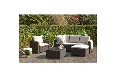 Salon de jardin - ensemble table chaise fauteuil de jardin allibert salon  de jardin moorea 4 pieces imitation résine tressée.