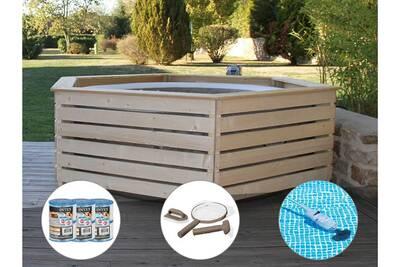 Pack Spa Gonflable Intex Purespa Rond Bulles 4 Places Habillage En Bois Aquazendo 6 Filtres Kit D Entretien Aspirateur