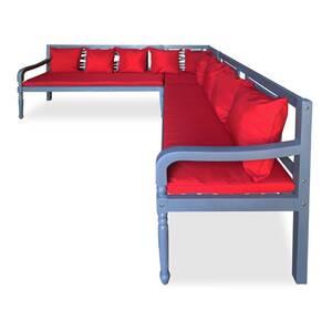 Icaverne - salons de jardin moderne mobilier de jardin 3 pcs bois d\'acacia  solide gris et rouge