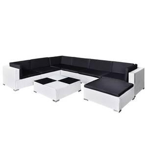 Icaverne - salons de jardin moderne mobilier de jardin 8 pcs avec coussins  résine tressée blanc