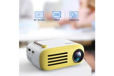 Excelvan Yg200 Mini Projecteur Portable Heim Theater 1080p Usb Av Hdmi Full Hd Led Vidéo Projecteur Jaune