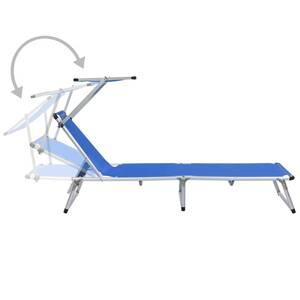 Icaverne De Avec Bleu Bains Vidaxl Pliable Textilène Aluminium Superbe Chaise Toit Longue Et Soleil PN8wvn0yOm