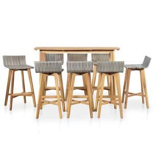 Icaverne - ensembles de meubles d\'extérieur superbe vidaxl ensemble de bar  d\'extérieur 9 pcs résine tressée bois d\'acacia