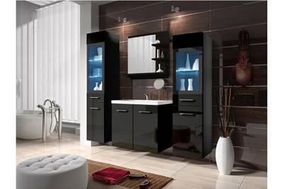 Ensemble laurine à leds - meubles de salle de bain - laqué noir