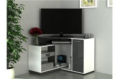 Meuble Tv D Angle Amael Avec Rangements Coloris Blanc Anthracite