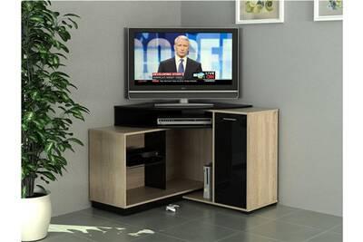 Meuble tv d\'angle amael avec rangements - coloris chêne & noir