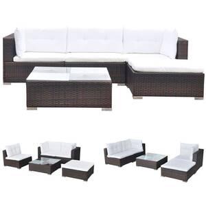 Icaverne - salons de jardin moderne mobilier de jardin 5 pcs avec coussins  résine tressée marron