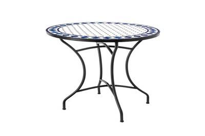 Table de repas ronde fer/céramique blanc et bleu - mirihi - l 90 x l 90 x h  74 - neuf