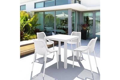Salon de jardin blanc 4 places en polypropylène - siesta