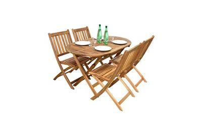 Salon de jardin ovale fidgi en acacia 4 places