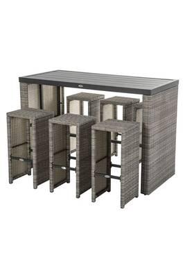 Ensemble table haute et chaises tasmania - 6 personnes - marron havane