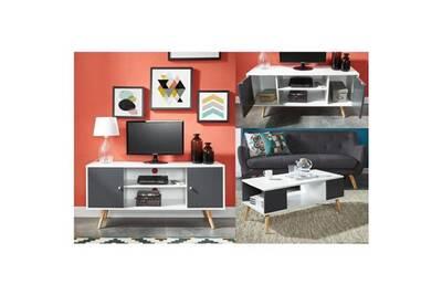 Ensemble meubles de salon babette ensemble table basse gris anthracite et  blanc + meuble tv gris foncé et blanc