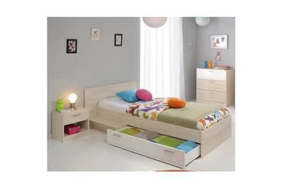 Chambre a coucher complete charlemagne chambre enfant complete style  contemporain décor acacia clair et blanc - l 90 x l 190 cm