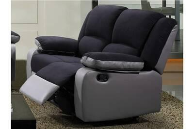 Canapé 2 Places Relax En Microfibre Et Simili Bilston Ii Noir Et Gris