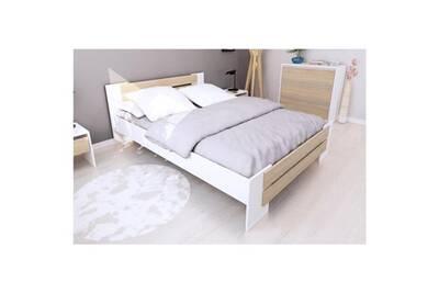 Chambre a coucher complete mao chambre adulte complete - contemporain -  blanc mat et décor chene sonoma - l 140 x l 190 cm