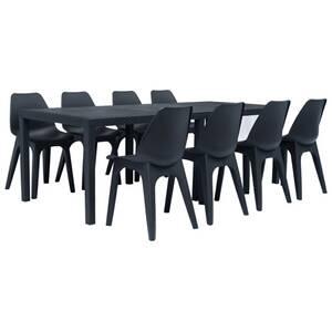 Ensemble à dîner d\'extérieur 9 pcs plastique anthracite