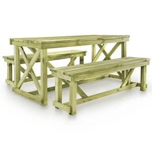 Table de brasserie avec 2 bancs bois fsc