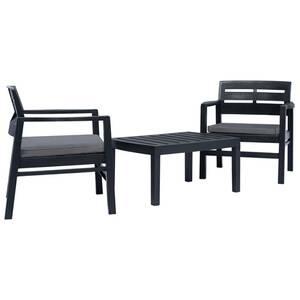 Ensemble de mobilier de jardin 3 pcs plastique anthracite