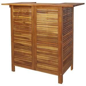 Mobilier de jardin ligne bruxelles table de bar bois d\'acacia massif 110 x  50 x 105 cm