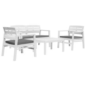 Mobilier de jardin collection beyrouth ensemble de mobilier de jardin 4 pcs  plastique blanc
