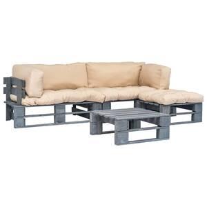 Canapés de jardin palette 4 pcs et coussins sable bois gris fsc
