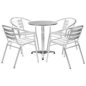 Meubles de jardin gamme panama ensemble à dîner 5 pcs avec table ronde  argenté aluminium