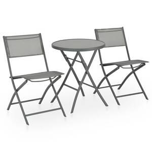 Mobilier de jardin serie abou dabi mobilier de bistro pliable 3 pcs acier  et textilène gris