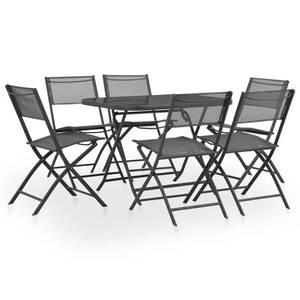 Mobilier à dîner de jardin pliable 7 pcs acier et textilène gris