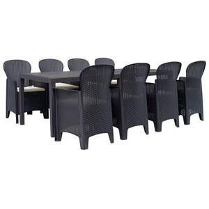Meubles de jardin edition abuja meuble à dîner d\'extérieur 9 pcs plastique  brun aspect de rotin